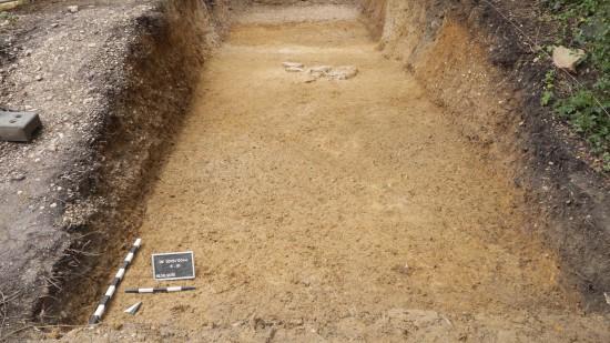Bonn-Venusberg, Foto der aus groben Quarzitblöcken bestehenden Steinsetzung an der Basis des ansonsten aus Kies und Sand bestehenden Wallkörpers. Foto: M. Gran, LVR-Amt für Bodendenkmalpflege im Rheinland